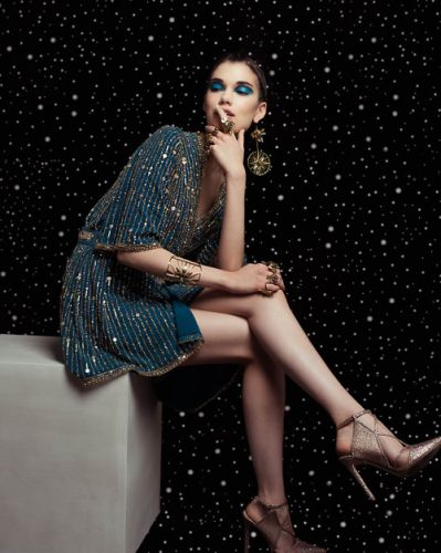 Teal, wrap dress in with gold embroidery from the GEORGES