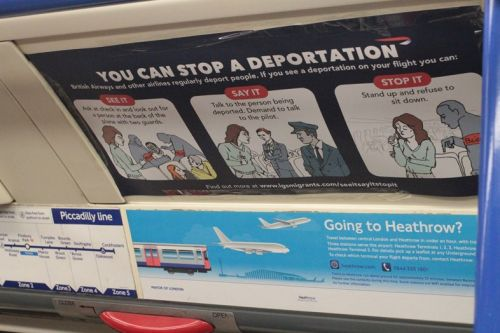 Ads on the Tube today show you how to stop deportation of migrants