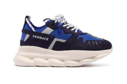 Versace Gives Its Chunky Chain Reaction 2 Sneakers the Blue Treatment