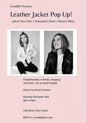 LEATHER JACKET POP UP at Soho Grand Hotel on November 16th