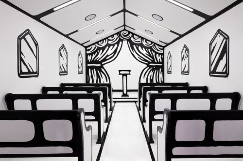 Joshua Vides Installs Black & White Wedding Chapel in Las Vegas