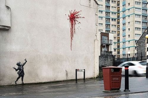 A Banksy Valentine's Day Mural Depicting a Cupid With a Slingshot Has Appeared in Bristol