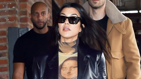 Kourtney Kardashian Shows Off Underwear in a Sheer Mona Lisa Bodysuit and We're Honestly Just Confused