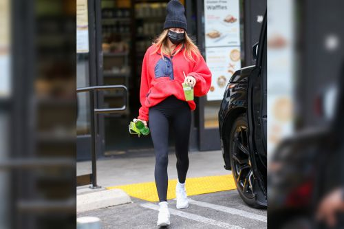 Hailey Bieber gives chill spring vibes in this Free People fleece