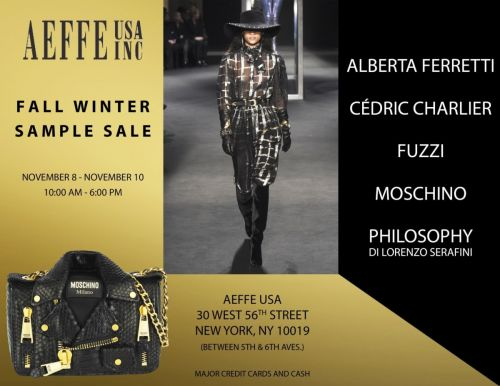 Aeffe USA - Fall/Winter 2018 Sample Sale up to 70% off!