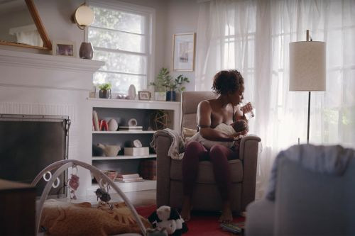 Frida Mom commercial showing lactating breasts airs during Golden Globes