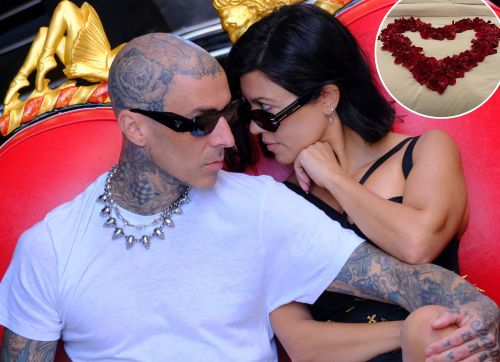 Sexy Time! Kourtney Kardashian and Travis Barker Celebrate Their Engagement in a Bed of Rose Petals