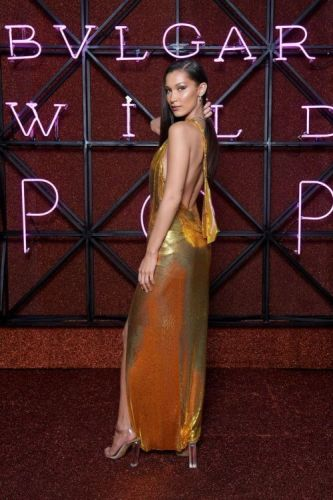 Bella Hadid Shines in a Sexy Gold Versace DressWe just