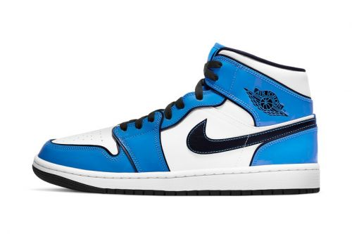 """Air Jordan 1 Mid """"Signal Blue"""" Features Patent Leather Overlays"""