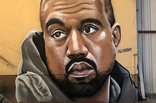 Kanye West Meets Big Brain Meme in New Lushsux Street Art Mural