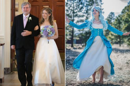 Women find fabulous ways to rewear their wedding gowns