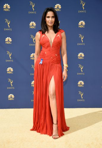 Padma Lakshmi Rewears a Red Evening Gown to the 2018 Emmys