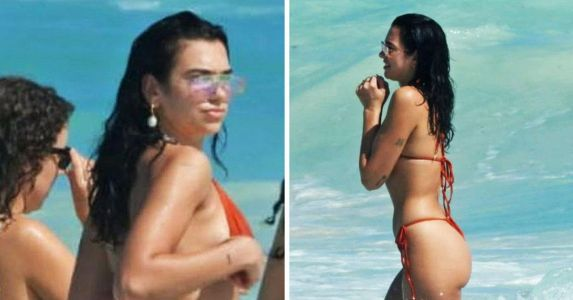 Sexy Singer Dua Lipa Sizzles In Red Bikini While On Vacation In Mexico - See Photos