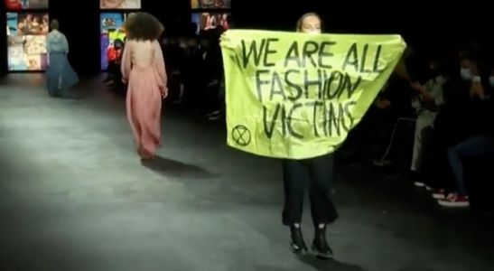 An Extinction Rebellion protester crashed the Dior runway show