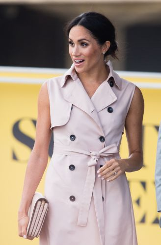 Meghan Markle Wears Nonie Pink Trench Coat Dress to Nelson Mandela Exhibit