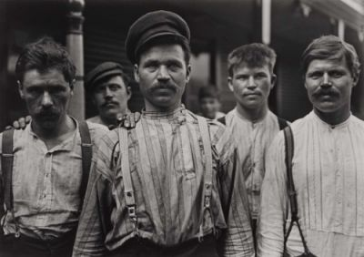 Steel Workers at Russian Boarding House by Lewis W. Hine