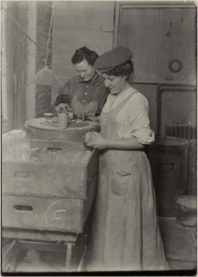 Sandblast Etching on Glass by Lewis W. Hine, 1910