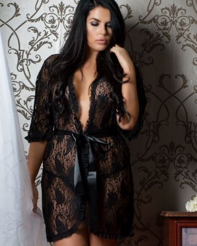 LIKE: Black Lace Gown With Satin Belt