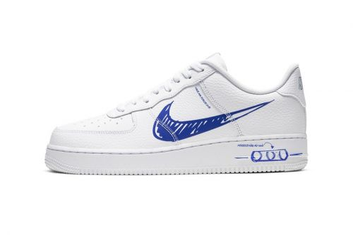 """Nike's Sketch Graphic-Equipped Air Force 1 Gets """"Racer Blue"""" Accents"""