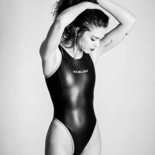 Theonepieceswimsuit:Black and white in shiny black one-piece