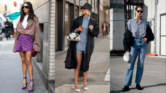 Striped Button-Downs Were a Street Style Staple Over the Weekend at Milan Fashion Week