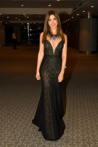 The Beautiful Nancy Ajram wore a strapless black tulle and lace