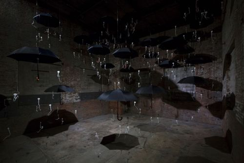 "It's Raining Umbrellas in Gilles Barbier's ""Laughing at Clouds"" Exhibition"
