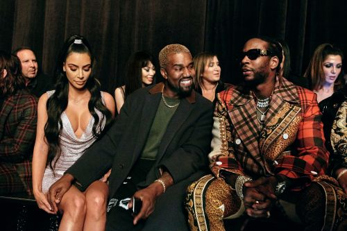 Kim Kardashian, Kanye West sit front row at Versace pop-up show
