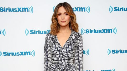 Rose Byrne Jumps on the Logomania Trend In a Valentino Wrap Dress