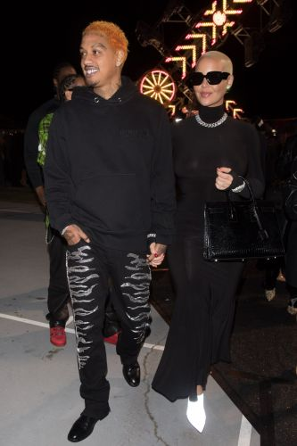 Amber Rose Flaunts Post-Baby Body in Bodycon Dress Leaving a Party With Boyfriend AE Edwards