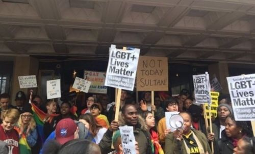 Protesters rallied at London's Dorchester to oppose Brunei's anti-LGBT laws