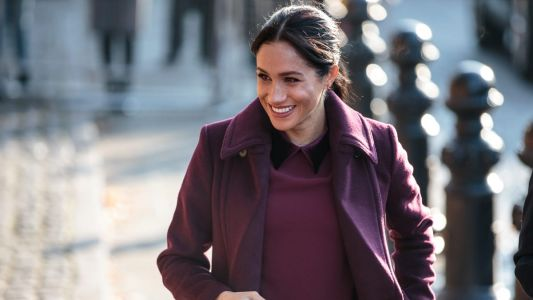 Meghan Markle Wore a Thing: Club Monaco Burgundy Coat Edition