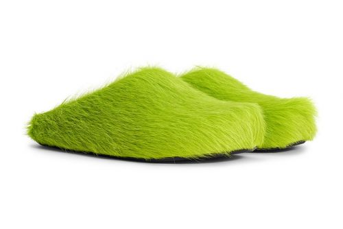 "Marni's Sabot Mule Drops in Grinch-Channeling ""Light Lime"" Green Fur"