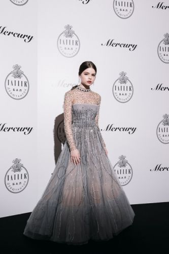 Debutante Polina Dunaevskaya looked ravishing in GEORGES HOBEIKA