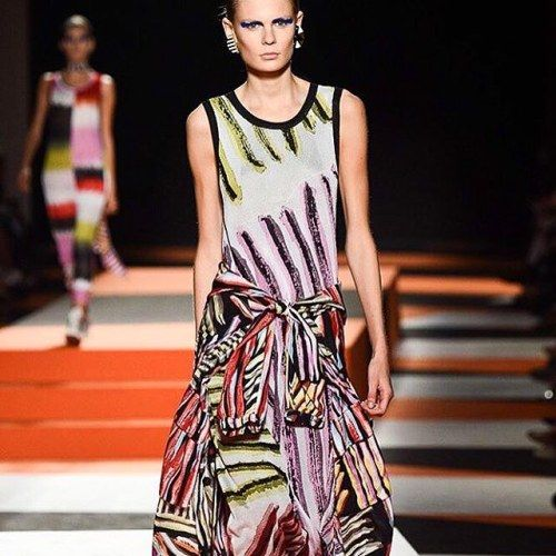 New signs of stripes at Missoni SS16, with sleeves around the