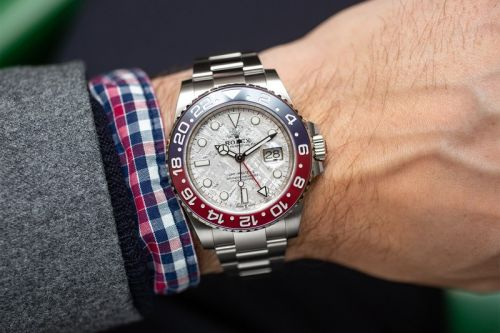 "The White Gold Rolex GMT-Master II ""Pepsi"" Receives a Meteorite Dial"
