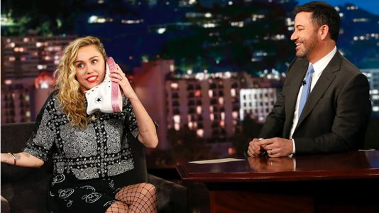 Miley Cyrus Videotaped Herself Getting Into Bed With Jimmy Kimmel and His Wife Approved