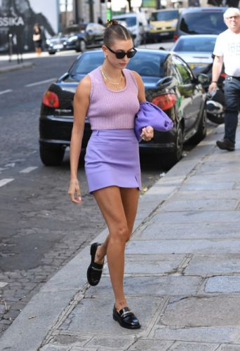 Hailey Bieber's All-Purple OOTD Is A Lesson In Tonal Dressing