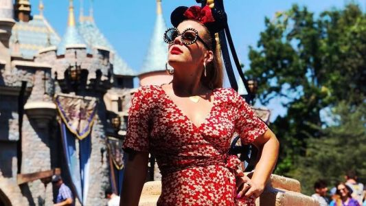 Busy Philipps Matched Her Lipstick to Her Romper at Disneyland